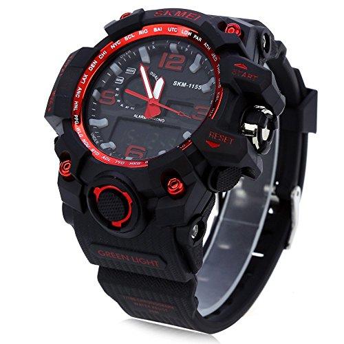 Leopard Shop SKMEI 1155 Herren LED Digital Dual Time Tag Alarm Licht Wasser Widerstand Armbanduhr Rot