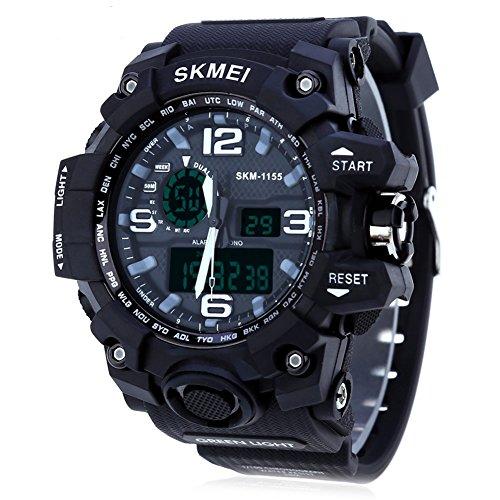 Leopard Shop SKMEI 1155 Herren LED Digital Dual Time Tag Alarm Licht Wasser Widerstand Armbanduhr Schwarz