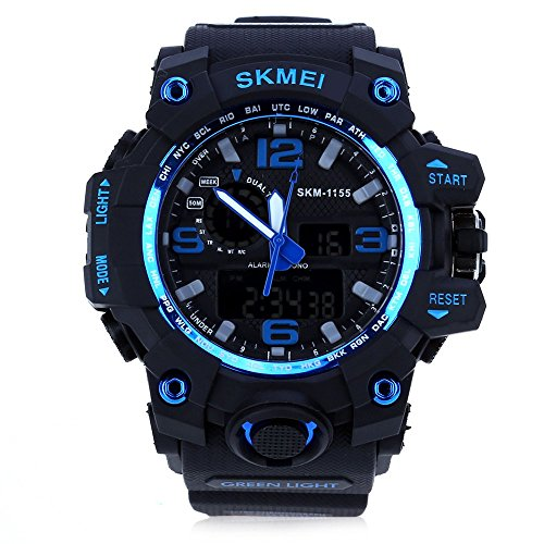 Leopard Shop SKMEI 1155 Herren LED Digital Dual Time Tag Alarm Licht Armbanduhr Wasser Widerstand blau