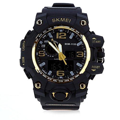 Leopard Shop SKMEI 1155 Herren LED Digital Dual Time Tag Alarm Licht Armbanduhr Wasser Widerstand Golden