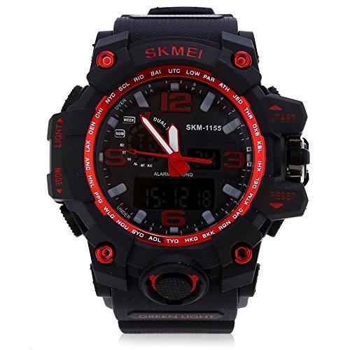Leopard Shop SKMEI 1155 Herren LED Digital Dual Time Tag Alarm Licht Armbanduhr Wasser Widerstand rot