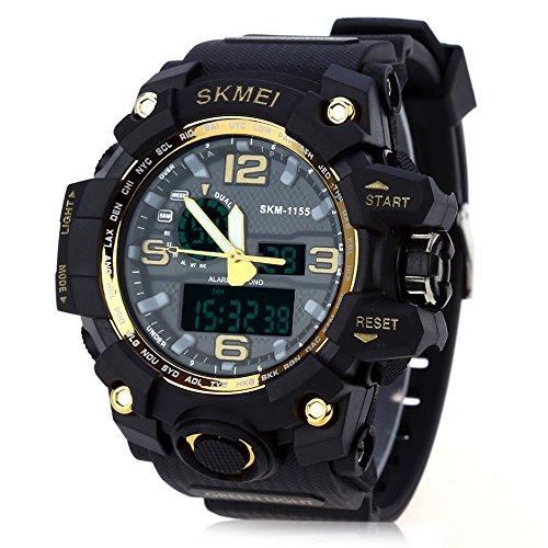 Leopard Shop SKMEI 1155 Herren LED Digital Dual Time Tag Alarm Licht Wasser Widerstand Armbanduhr Golden