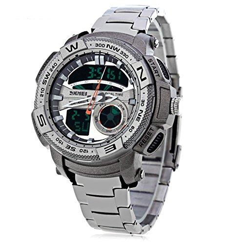 Leopard Shop SKMEI 1121 Herren LED Digital Duale Zeitanzeige mit Datum Tag Alarm Licht wasserbestaendig