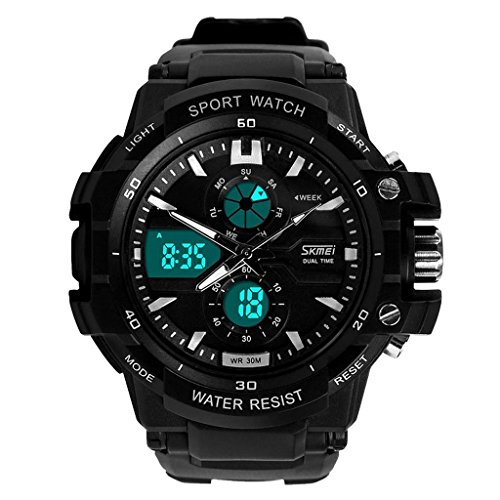 Skmei 0990 Maenner Sport Uhren LED Digital Outdoor Armbanduhr Wasserdicht Silber