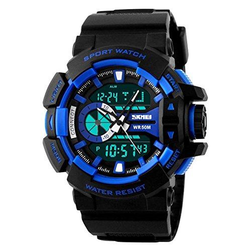 Mann Armbanduhr SKMEI Sport S Shock Wasserdichtes Digital Analog Chrono Quarz Mann Armbanduhr Blau