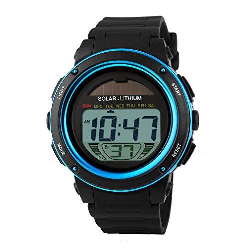 Mann Dame Uhr Skmei solarbetriebene Digital Mann Dame wasserdichte Gummisport Armbanduhr Blau