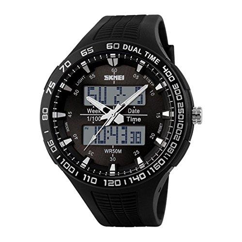 maskuline Uhr SKMEI maennlich Bewegung im Freien Multifunktions elektronischen Uhr wasserdicht schwarz