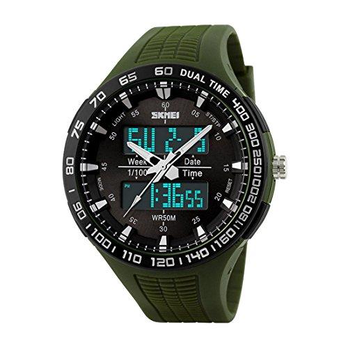maskuline Uhr SKMEI maennlich Bewegung im Freien Multifunktions elektronischen Uhr wasserdicht Armee Gruen