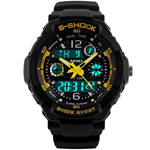 Skmei s shock 5 ATM wasserdicht Analog Digital Jungen Teenage Military Sport Armbanduhr