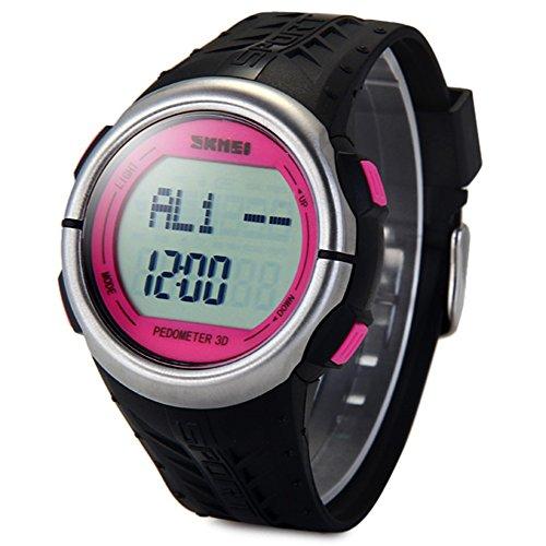 Leopard Shop SKMEI 1058 Multifunktionsuhr Schrittzaehler LED Herz Rate Tracking Armbanduhr Rose