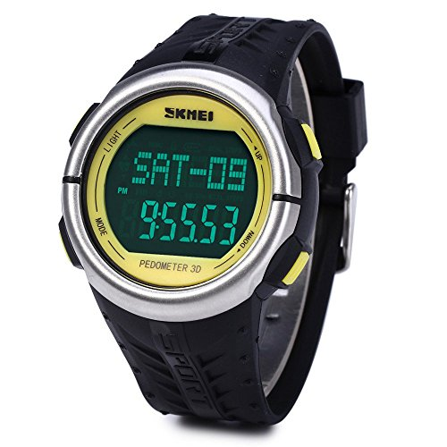 Leopard Shop SKMEI 1058 Multifunktionsuhr Schrittzaehler LED Herz Rate Tracking Armbanduhr Gelb