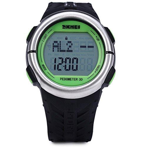 Leopard Shop SKMEI 1058 Multifunktionsuhr Schrittzaehler LED Herz Rate Tracking Armbanduhr Gruen