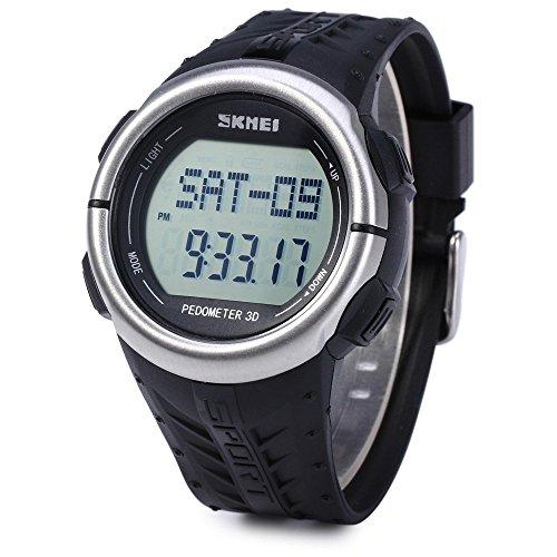 Leopard Shop SKMEI 1058 Multifunktionsuhr Schrittzaehler LED Herz Rate Tracking Armbanduhr Schwarz