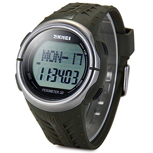 Leopard Shop SKMEI 1058 Multifunktionsuhr Schrittzaehler LED Herz Rate Tracking Armbanduhr Armee gruen