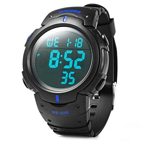 Leopard Shop SKMEI 1068 LED Stoppuhr Military Armbanduhr Alarm Multifunktional Wasser Resistant Blau