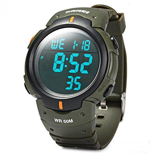 Leopard Shop SKMEI 1068 LED Stoppuhr Military Armbanduhr Alarm Multifunktional wasserabweisend Armee Gruen