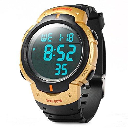 Leopard Shop SKMEI 1068 LED Stoppuhr Military Armbanduhr Alarm Multifunktional wasserabweisend Golden