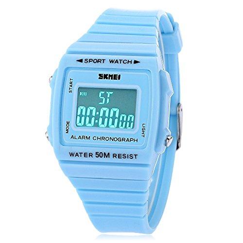 Leopard Shop SKMEI 1136 Unisex Sport Alarm LED Luminous Datum Display Gummi Band 50 m Wasser Widerstand Armbanduhr Blau