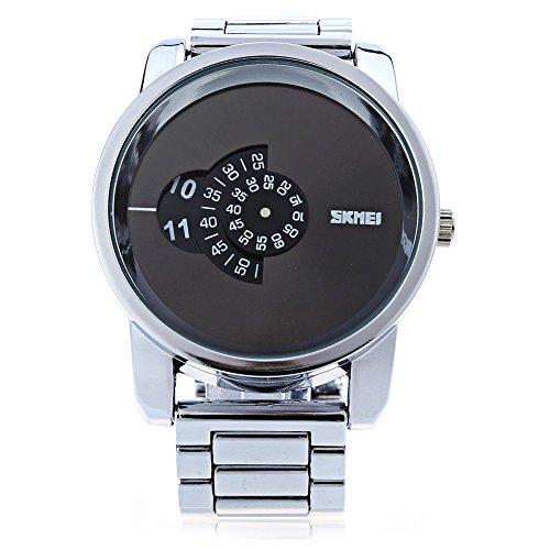Leopard Shop SKMEI 1171 Herren Quarzuhr Edelstahl Armbanduhr Wasser Widerstand Silber