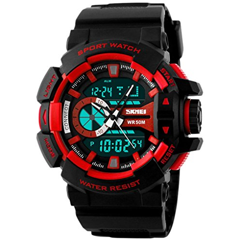 SKMEI Analog Digital Watch mit Kalender Zifferblatt 57 52 17mm Rot