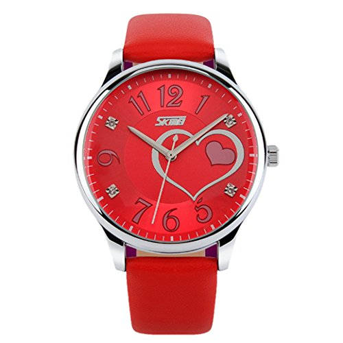 Tangda SKMEI Damen Frauen Armbanduhr Herzfoermigen Leder Band Armband Uhren Sport Uhren Wrist Watch Quarzuhr Rot