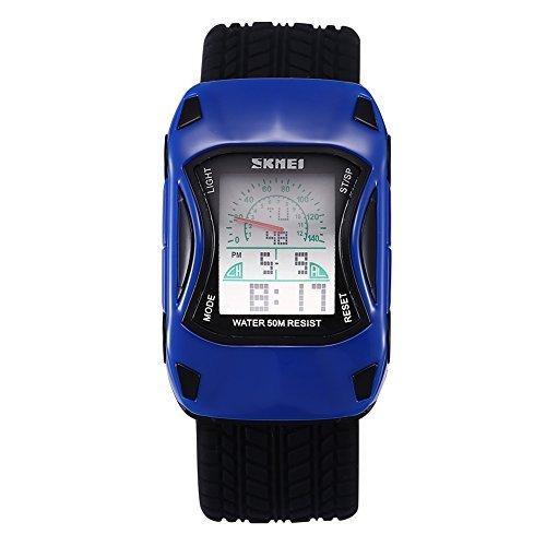 skmei blaues auto form kind uhr mit led hintergrundbeleuchtung und kalender 369306