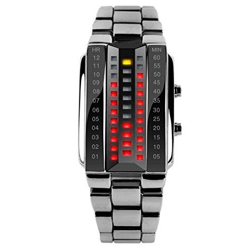 SKMEI Herren Fashion Digital LED Armbanduhr LED Watch Kalender Zifferblatt 35 25 12mm Silber