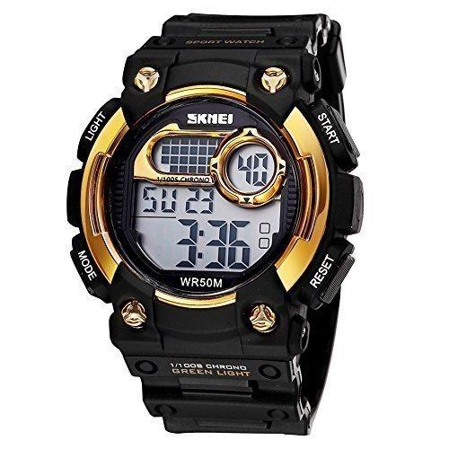 skmei herren digital sport kalender und uhren mit led hintergrundbeleuchtung alarm gold l nette 370504