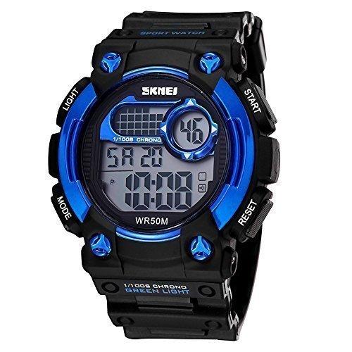 skmei herren digital sport kalender und uhren mit led hintergrundbeleuchtung alarm blaue l nette 370502