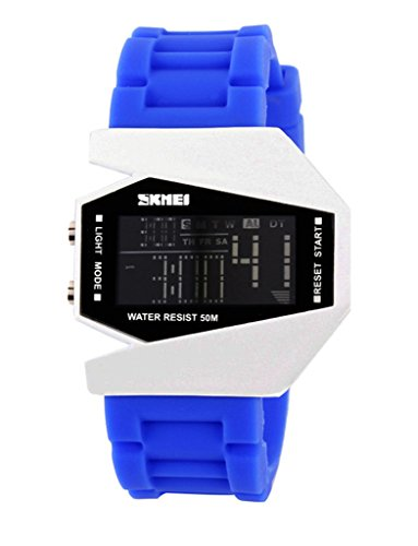 SKMEI Kinder wasserdichte LED Flugzeug Art Digital Sport Armbanduhr blau