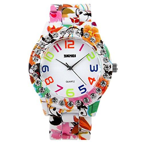 SKMEI Damen Kreative Watch mit Blumen Pattern Zifferblatt 48 42 10mm Rosa