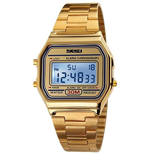 SKMEI Damen Herren Unisex Retro Leichte Armbanduhr Duenne Vintage Watch Zifferblatt 36 33 9mm 02 Gold