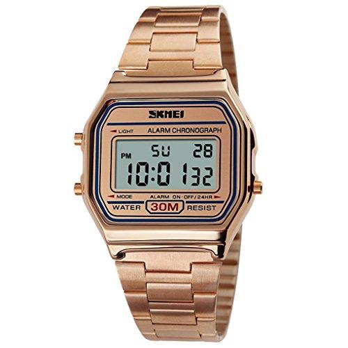 SKMEI Damen Herren Unisex Retro Leichte Armbanduhr Duenne Vintage Watch Zifferblatt 36 33 9mm 01 Gold