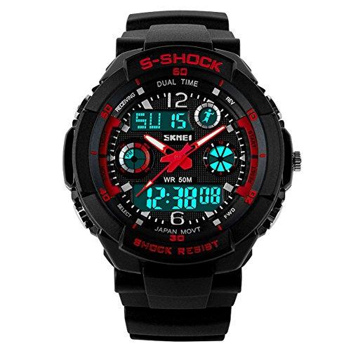 SKMEI 5 ATM wasserdichte Mode Herren LED Digital Stoppuhr Chronograph Datum Alarm laessig Sport Armbanduhr 2 Zeitzone rot