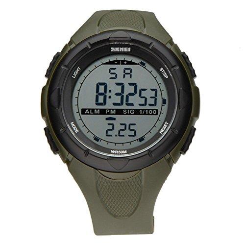 SKMEI 5 ATM wasserdichte Mode Herren LED Digital Stoppuhr Chronograph Datum Alarm laessig Sport Armbanduhr Armeegruen