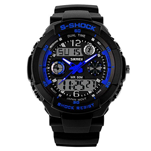 SKMEI 5 ATM wasserdichte Mode Herren LED Digital Stoppuhr Chronograph Datum Alarm laessig Sport Armbanduhr 2 Zeitzone blau