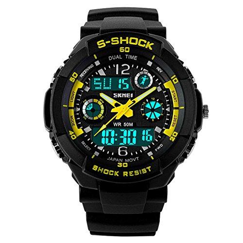 SKMEI 5 ATM wasserdichte Mode Herren LED Digital Stoppuhr Chronograph Datum Alarm laessig Sport Armbanduhr 2 Zeitzone gelb