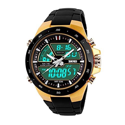 SKMEI 5 ATM wasserdichte Mode Herren LED Digital Stoppuhr Chronograph Datum Alarm laessig Sport Armbanduhr 2 Zeitzone golden