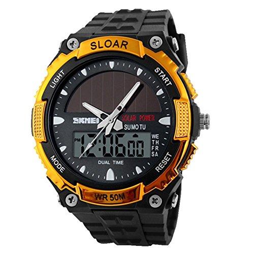 Uhr Skmei Solarkraft Armee LED Uhr Datum Wochen Dual 5ATM Wasserdicht Armbanduhr fuer Sport Gold