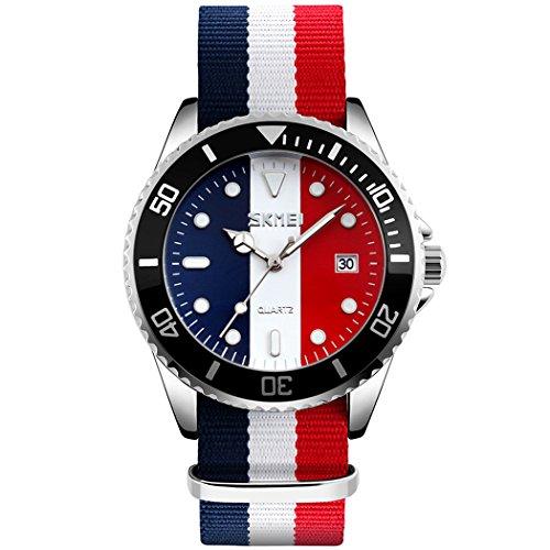 Skmei 3 ATM Wasserdicht Nylon Band Casual Unisex Herren Damen Quarz Armbanduhr mit Datum