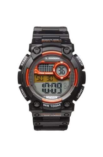 Diadora-di-002-03-Cross-Zeigt Herren-Quartz Digital-Zifferblatt LCD-Armband Silikon Schwarz