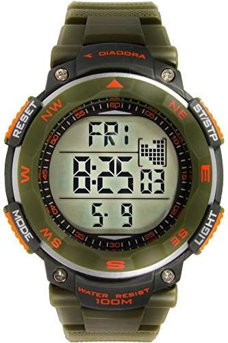 Diadora-di-014-03-Trekky-Zeigt Herren-Quartz Digital-Zifferblatt LCD-Armband Silikon Gruen