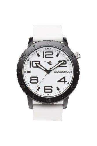 Diadora di 009 02 2 0 Armbanduhr Quarz Analog Weisses Ziffernblatt Armband Silikon weiss