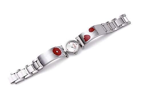Kenzo Uhr Sakura Mohnblume Sterlingsilber rot rund