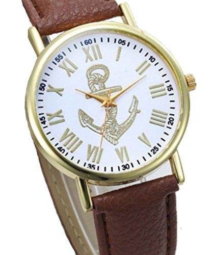 Armbanduhr mit Anker Edelstahl vergoldet mit weichem Lederarmband