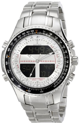 Digital Alarm Chronograph World Time Silver Dial
