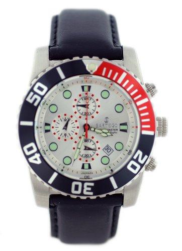 Ocean Master Diver Chronograph Silver Tone Dial Strap