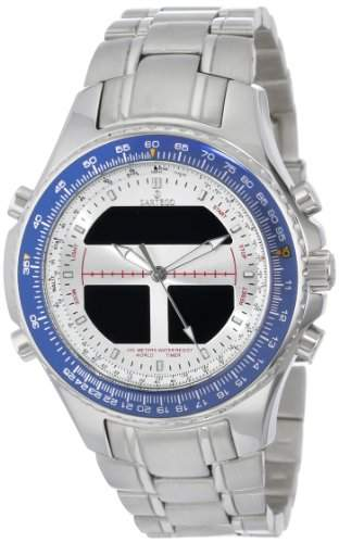 Stainless Steel Digital Alarm Chronograph World Time Silver Dial