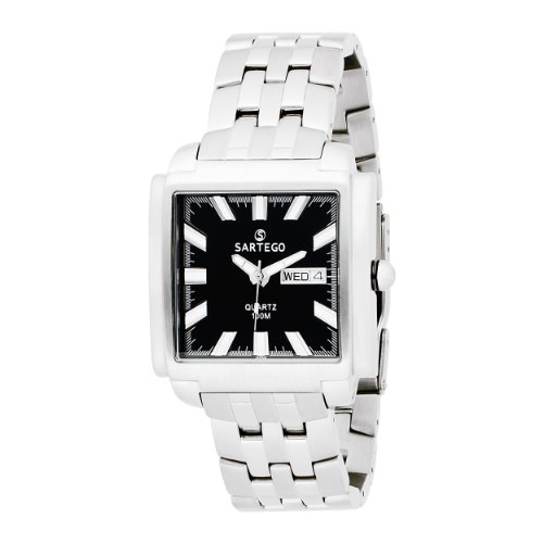 Square Stainless Steel Dress Watch Black Dial