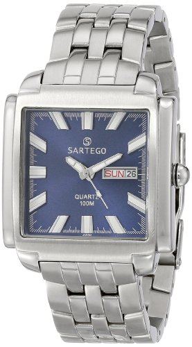 Square Stainless Steel Dress Watch Blue Dial